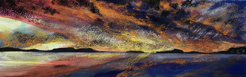 Still Waters 19 Sky on fire 18 x 55cm